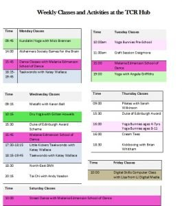 Timetable of Classes at TCR Hub 2017